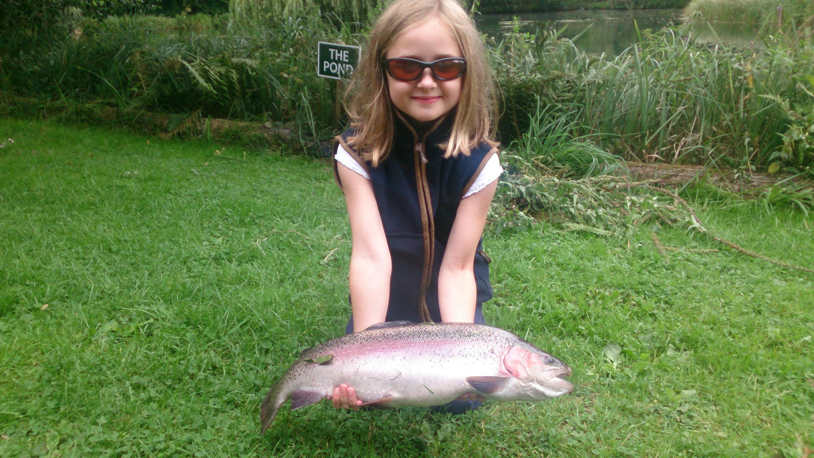 8 year old Amelia Martin landed an 8lb 8oz beautiful trout