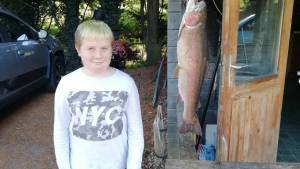 Tyler's big rainbow trout weighed in at 7.5lbs caught on willow lake on a damsel fly.